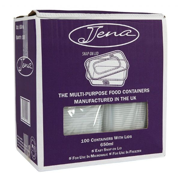 JENA Plastic Take Away Containers with Lids 100x650ML Disposable/Microwave